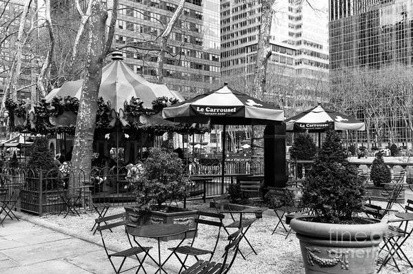 Bryant Park Table Art Print featuring the photograph Bryant Park Tables Mono by John Rizzuto