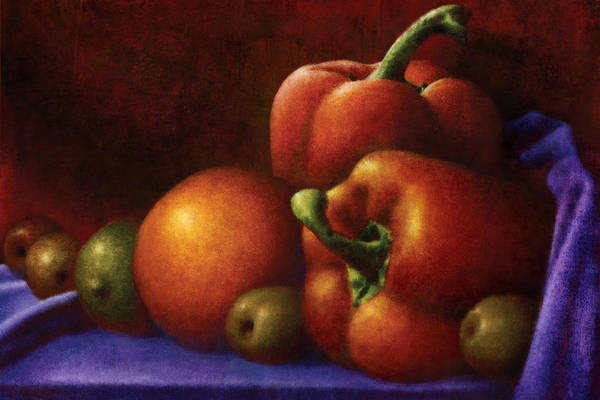Food Art Print featuring the digital art Still Life With Peppers And Olives by Zev Robinson