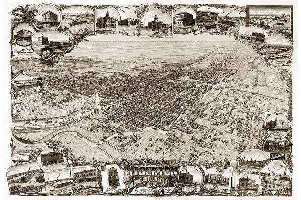 Stockton Art Print featuring the photograph Stockton San Joaquin County California 1895 by California Views Mr Pat Hathaway Archives