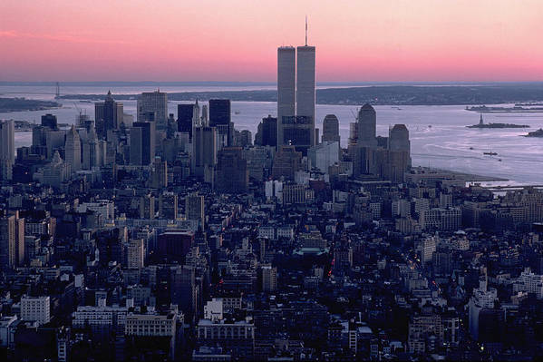 Twin Towers Art Print featuring the photograph View Of Lower Manhattan by Rene Sheret