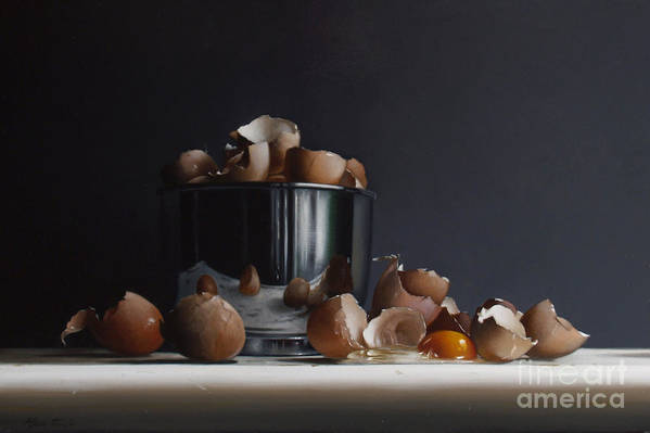 Still Art Print featuring the painting Mixing Bowl With Eggs by Larry Preston