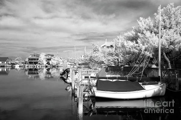 Infrared Boats At Lbi Art Print featuring the photograph Infrared Boats At Lbi Bw by John Rizzuto