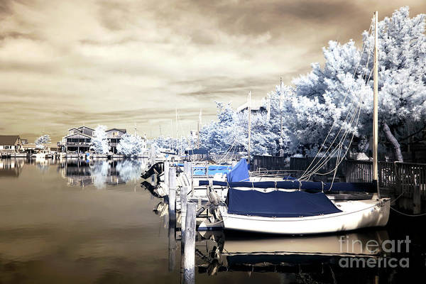 Infrared Boats At Lbi Print featuring the photograph Infrared Boats At Lbi by John Rizzuto