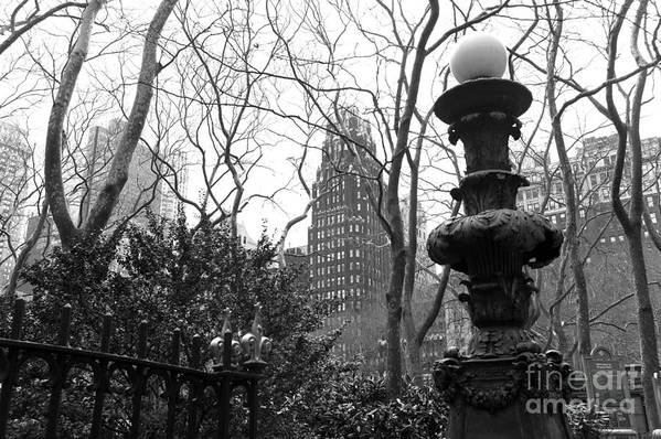 Into Bryant Park Mono Print featuring the photograph Into Bryant Park Mono by John Rizzuto