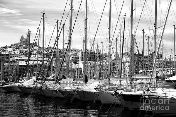 Masts In The Harbor Art Print featuring the photograph Masts In The Harbor by John Rizzuto