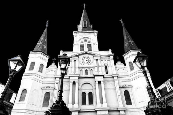St. Louis Cathedral Drama Art Print featuring the photograph St. Louis Cathedral Drama In New Orleans by John Rizzuto