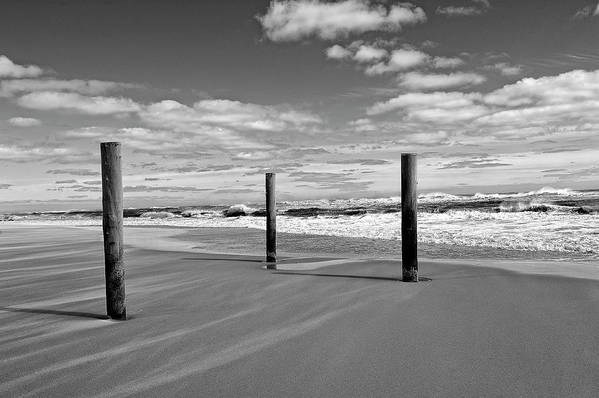 Water Art Print featuring the photograph Three Posts At Main by Tim Doubrava