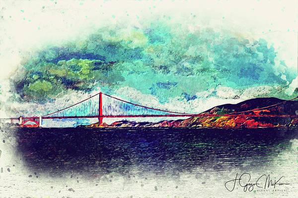 Bridge Art Print featuring the digital art Vintage Golden Gate by Jo-Anne Gazo-McKim