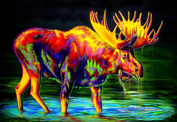 Moose Art Print featuring the painting Motley Moose by Teshia Art