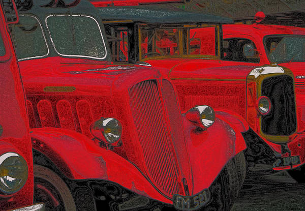 Delahaye Truck Art Print featuring the photograph Vintage Fire Truck Techno Art by Tony Grider