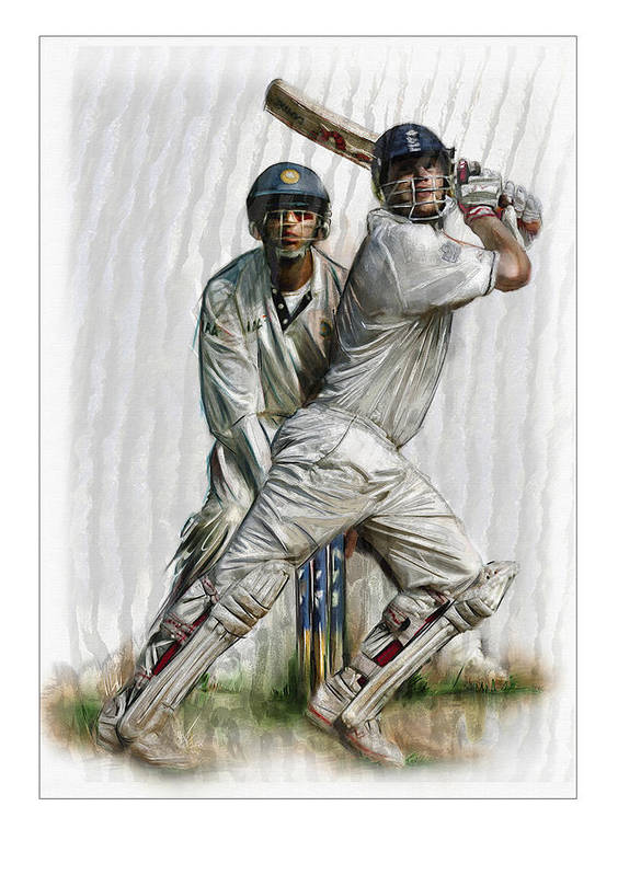 English Ashes Truly English Art Print featuring the painting Cricket2 by James Robinson