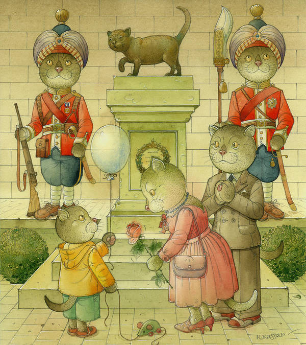 Cat Animals Monument Patriotism Bengal Soldier Art Print featuring the painting National Monument by Kestutis Kasparavicius