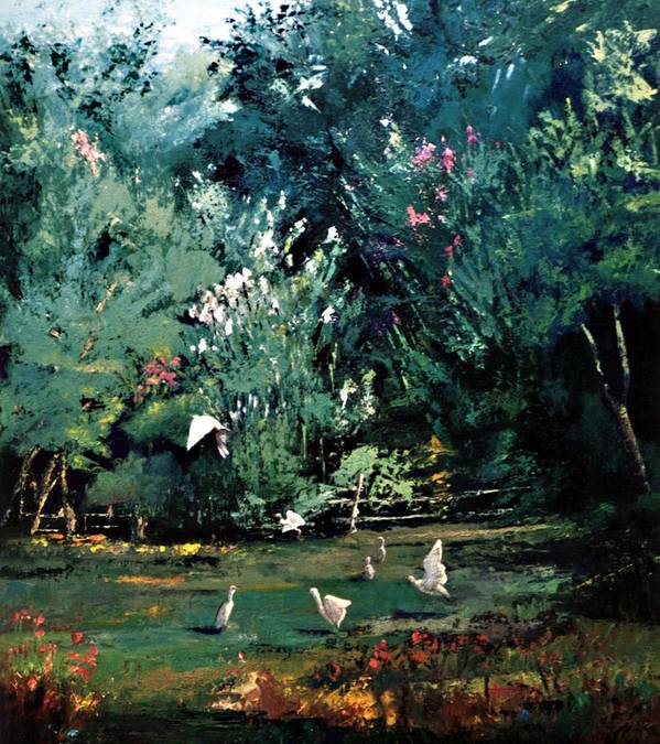 Landscape Art Print featuring the painting The Egrets Have Landed by Jimmie Trotter