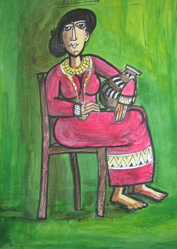 Full Portrait Art Print featuring the painting The Maldivian Woman by Paulose Joseph