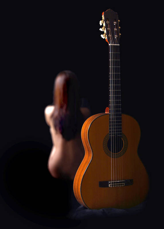 Nude Art Print featuring the photograph Lady And Guitar by Dario Infini