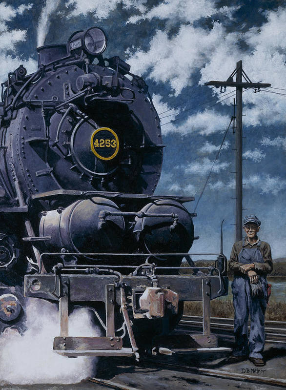 Trains Art Print featuring the painting A Man and His Machine by David Mittner