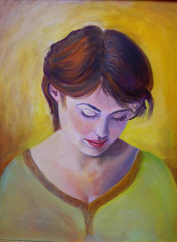 A Classic Portraiture Of A Beautiful Woman Art Print featuring the painting Pensive by George Markiewicz