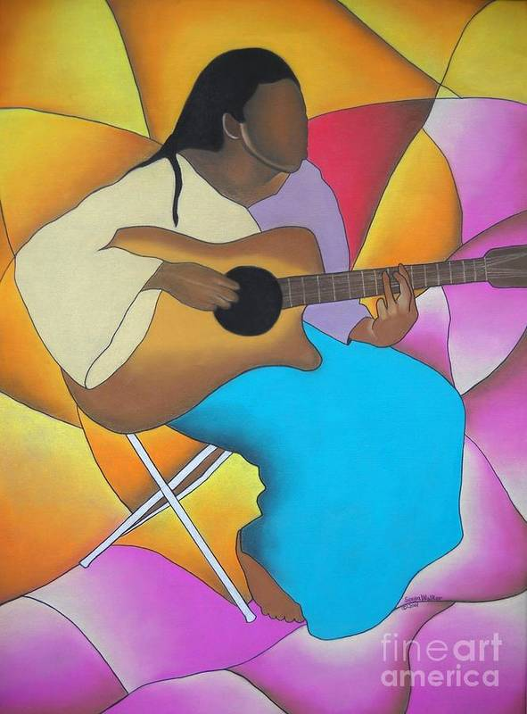 African American Art Print featuring the drawing Guitar Player by Sonya Walker