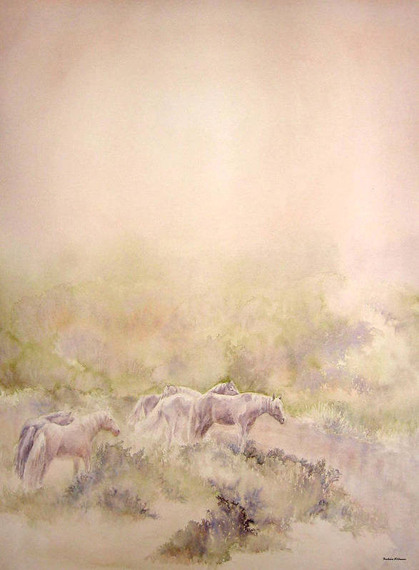 Horses Art Print featuring the painting Assateague Ponies by Barbara Widmann