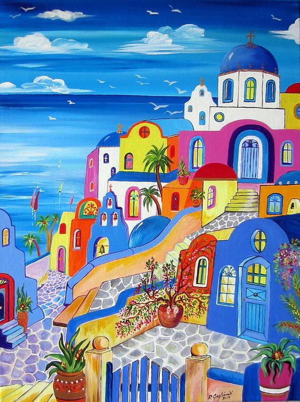 Greek Islands Fantasy Village Santorini by Roberto Gagliardi