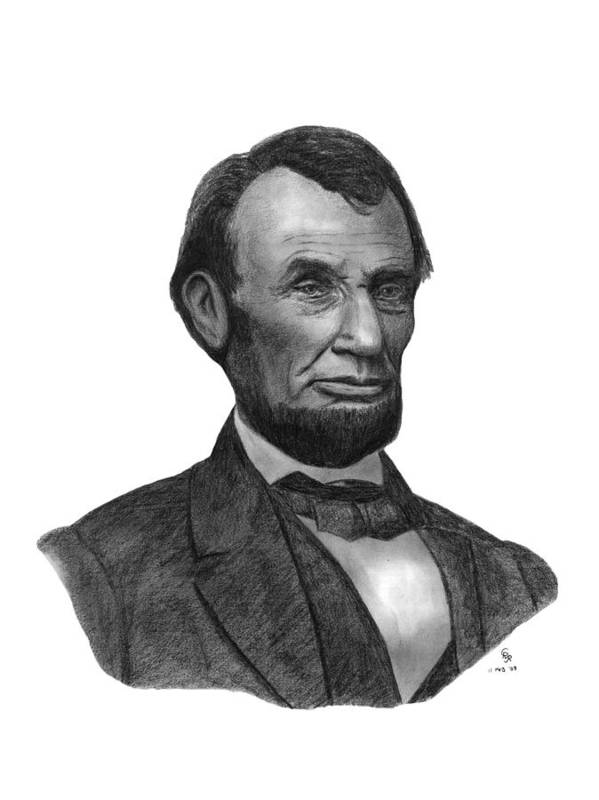 President Art Print featuring the drawing President Abraham Lincoln by Charles Vogan