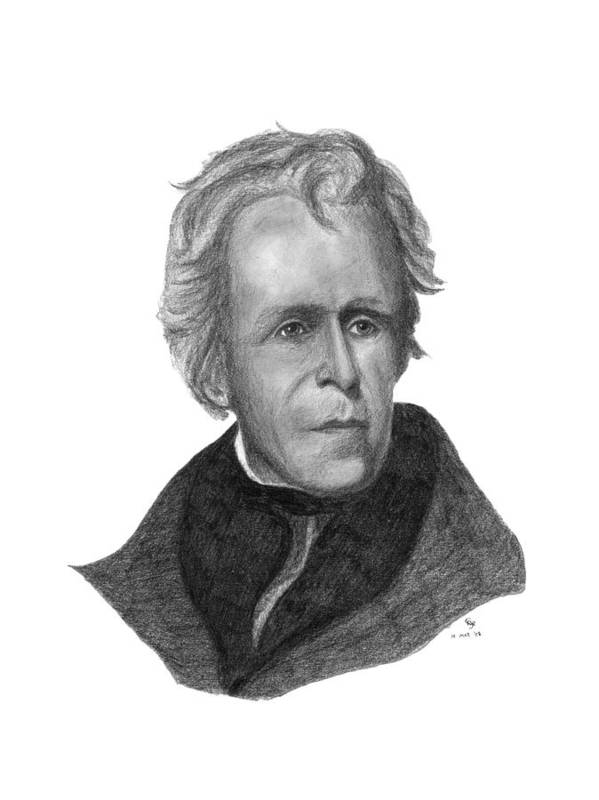 President Art Print featuring the drawing President Andrew Jackson by Charles Vogan