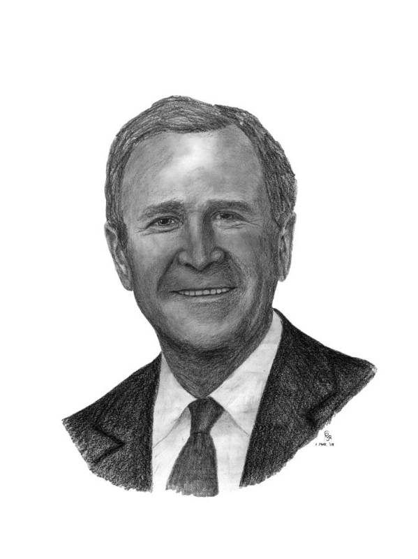 President Art Print featuring the drawing President George W Bush by Charles Vogan