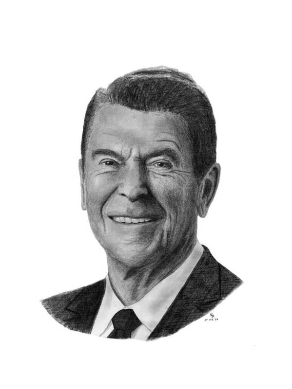 President Art Print featuring the drawing President Ronald Reagan by Charles Vogan
