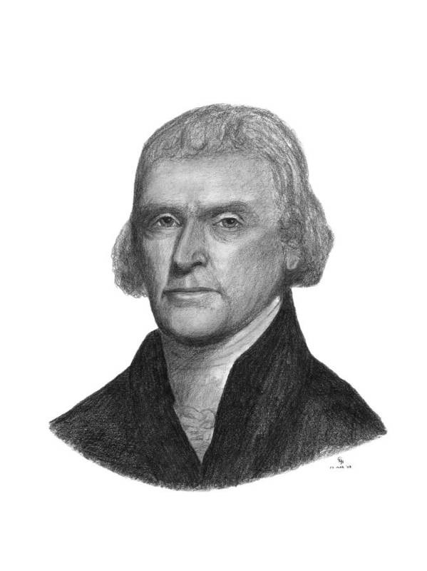 Jefferson Art Print featuring the drawing President Thomas Jefferson by Charles Vogan