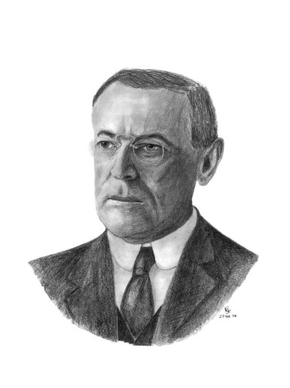 President Art Print featuring the drawing President Woodrow Wilson by Charles Vogan