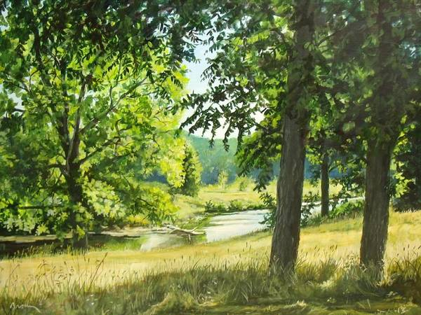 Landscape Art Print featuring the painting Summer Stream by William Brody