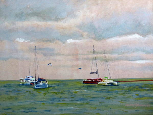 Carribean;sea;boats;sailboats;seagulls;seascape;sky;birds;water;ocean; Art Print featuring the painting Carribean Afternoon by Howard Stroman