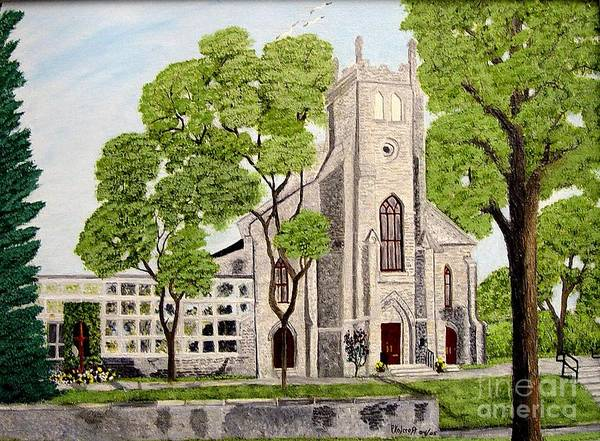 Historic Churches In Ontario Painting Art Print featuring the painting St.Thomas Anglican Church Belleville Circa1821 by Peggy Holcroft