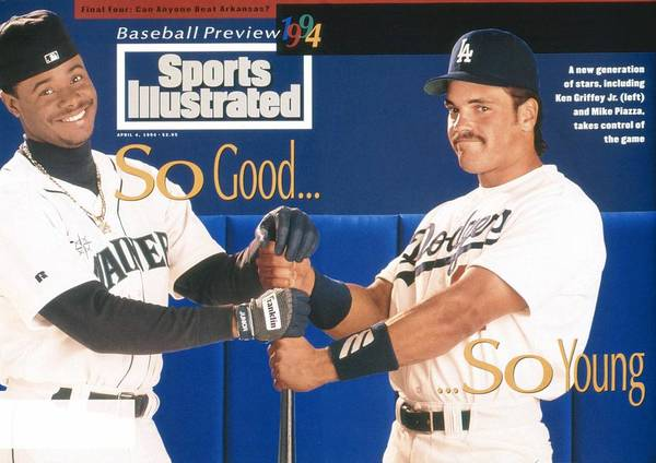 Magazine Cover Art Print featuring the photograph Seattle Mariners Ken Griffey Jr And Los Angeles Dodgers Sports Illustrated Cover by Sports Illustrated