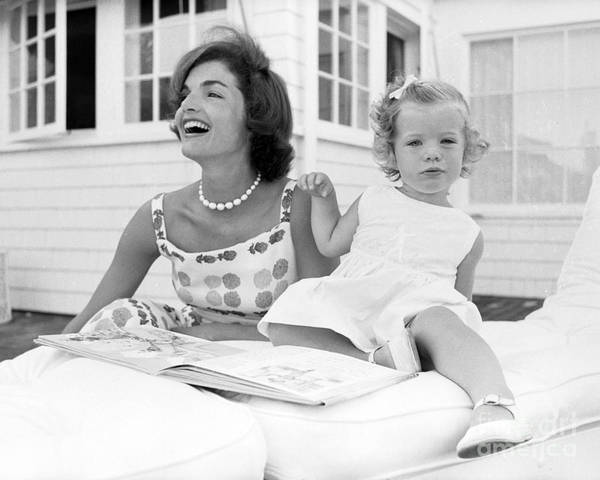 Jacqueline Kennedy Art Print featuring the photograph Jacqueline and Caroline Kennedy at Hyannis Port 1959 by The Harrington Collection