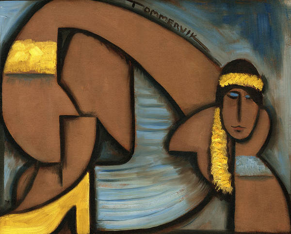Hula Girl Art Print featuring the painting Cubist Hawaii Hula Girl Art Print by Tommervik