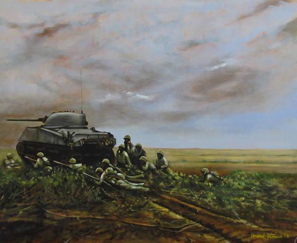 World War Two; Landscape; Soldiers; Military; Us Army; Combat; Infantry; Tank; Riflemen; War Art Print featuring the painting Field Of Flowers by Howard Stroman