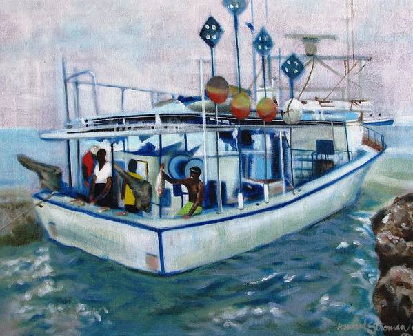 Fishing;boat;water;vacation;recreation;fishermen;aquatic;boat Painting;fishing Painting; Art Print featuring the painting Fishermen by Howard Stroman