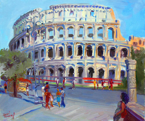 Anfiteatro Flavio Art Print featuring the painting Rome Colosseum by Ylli Haruni