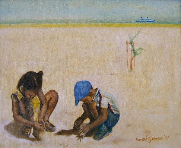 Children At The Beach Art Print featuring the painting Searching for treasure by Howard Stroman