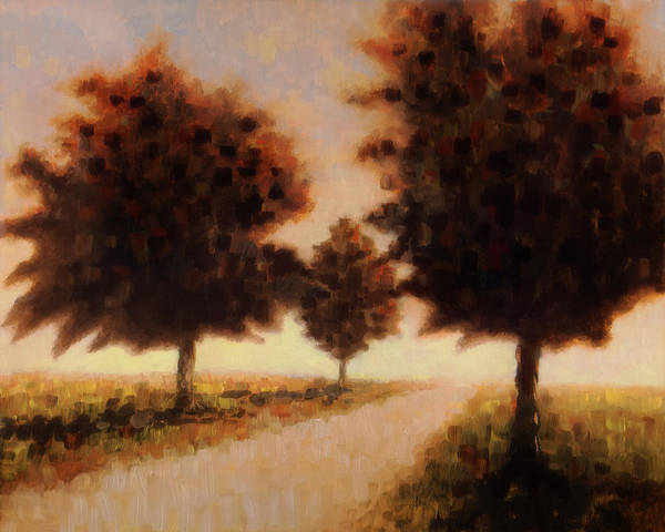 Art Print featuring the painting Trees at Sunset by Rob Blauser