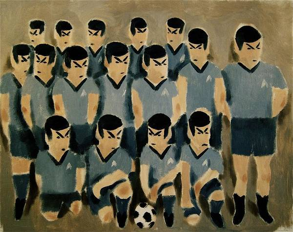 Spock Art Print featuring the painting Spock Soccer Team Art Print by Tommervik