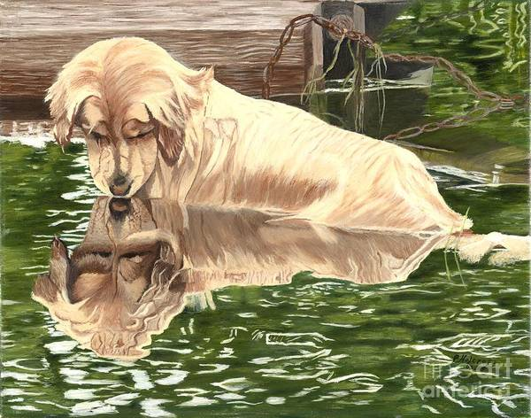 Dog Paintings Art Print featuring the painting Reflections of Molly by Peggy Holcroft