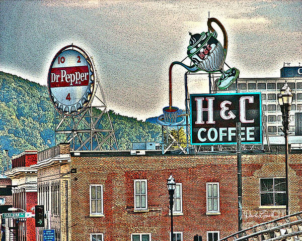 Roanoke VA Virginia - Dr Pepper and H C Coffee Vintage Signs by Dave Lynch