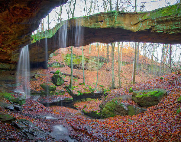 Through the Arch at Ohio's Hocking Hills Rockbridge Preserve - Natural Bridge and Waterfall by Ina Kratzsch
