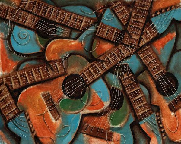 Guitar Art Print featuring the painting Tommervik Abstract Guitars Art Print by Tommervik