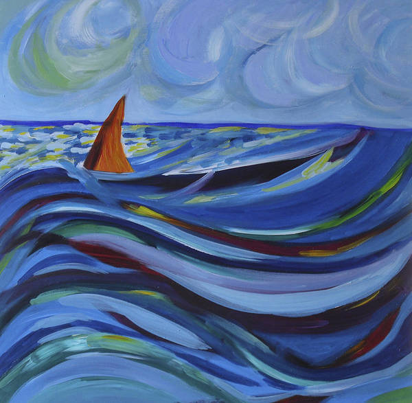 Wave Art Print featuring the painting Waves by Ingrid Torjesen