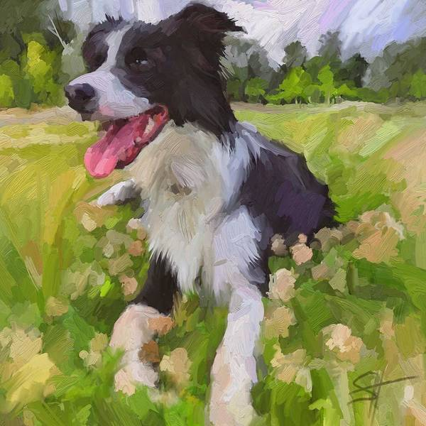 Border Collie Art Print featuring the digital art Collie Flowers by Scott Waters
