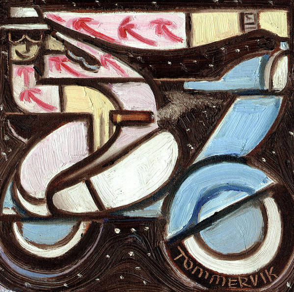 Miami Art Print featuring the painting Miami Beach Man Riding A vespa in Outer Space Art Print by Tommervik