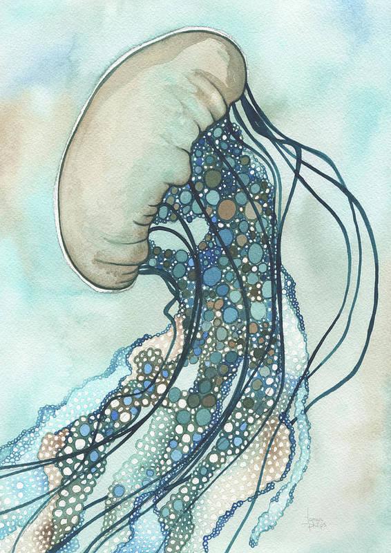 Marine Art Print featuring the painting Jellyfish II by Tamara Phillips